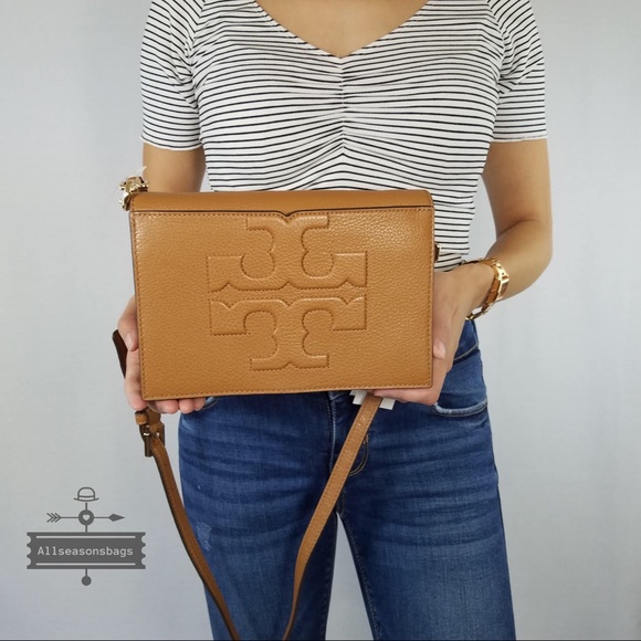 fb41fd1919c6 New Tory Burch T Bombe Large Bark Brown Crossbody. NWT